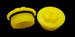 Tappi a tenuta filettati gialli con o-ring