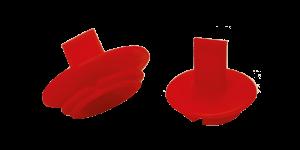 Tappi rossi a pressione con linguetta verticale